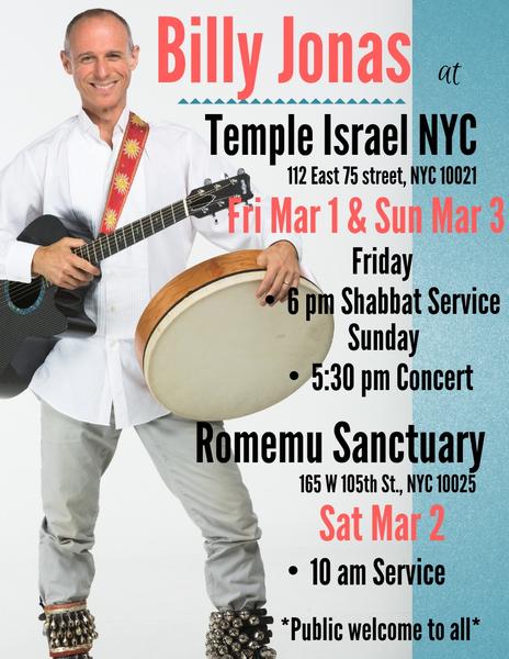 Billy in NYC this weekend nbspTemple Israel fri amp sun amp Romemu Sanctuary sat